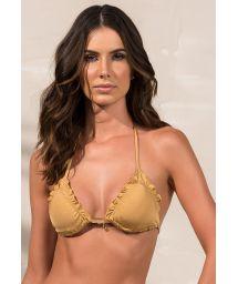 Triangle golden bikini top with wavy edges - SOUTIEN SOPHIA DOURADO