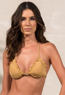 Triangle golden bikini top with wavy edges - SOUTIEN SOPHIA DOURADO