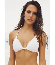 White triangle bikini top with gold details - SOUTIEN SOPHIA WHITE