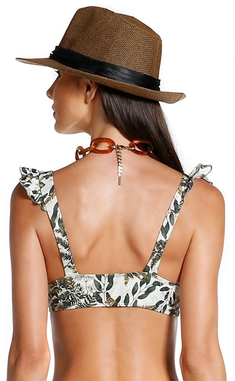 Bra bikini top with wavy edges with khaki leaves print - TOP SAFARI SELVA