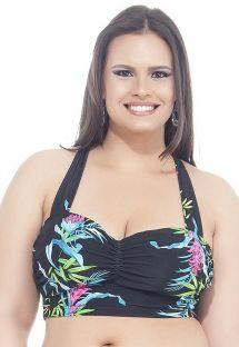 Czarny biustonosz w kwiatowe wzory, duże rozmiary - SOUTIEN CANTOS E ENCANTOS