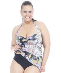 Plus size tankini top in a colourful floral print - SOUTIEN MAR E SOL