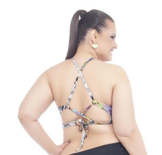 Купальный кроп-топ большого размера с цветочным рисунком, украшенный декоративными шнурками - SOUTIEN TAMARINDO