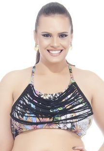 Plus size floral print crop top with thin halterneck straps - SOUTIEN TAMARINDO