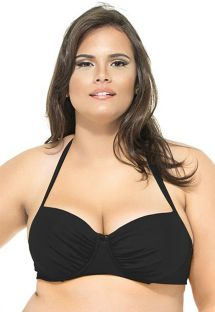 Pleated, black balconette top for large bust - SOUTIEN UBATUBA