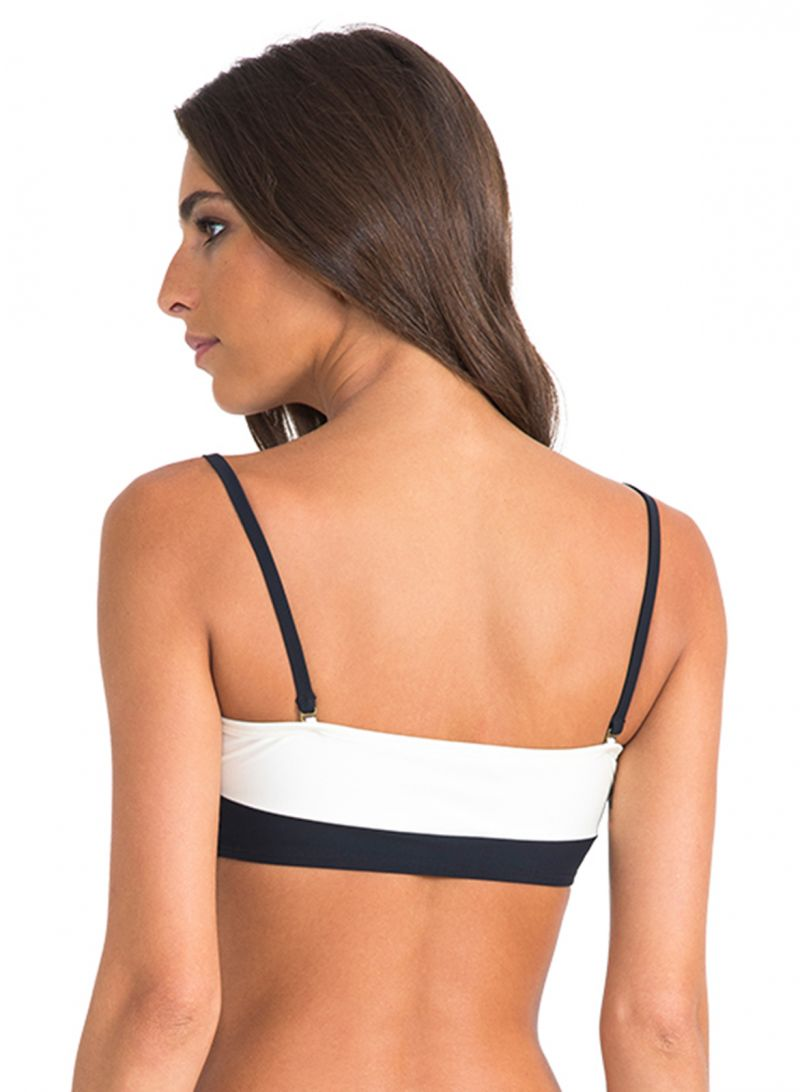 Two-coloured luxury bandeau top with eyelets - SOUTIEN BICOLOR ATHLETIC BLACK/OFF WHITE
