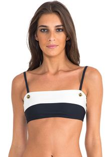 Tweekleurig luxe bandeautopje met oogjes - SOUTIEN BICOLOR ATHLETIC BLACK/OFF WHITE