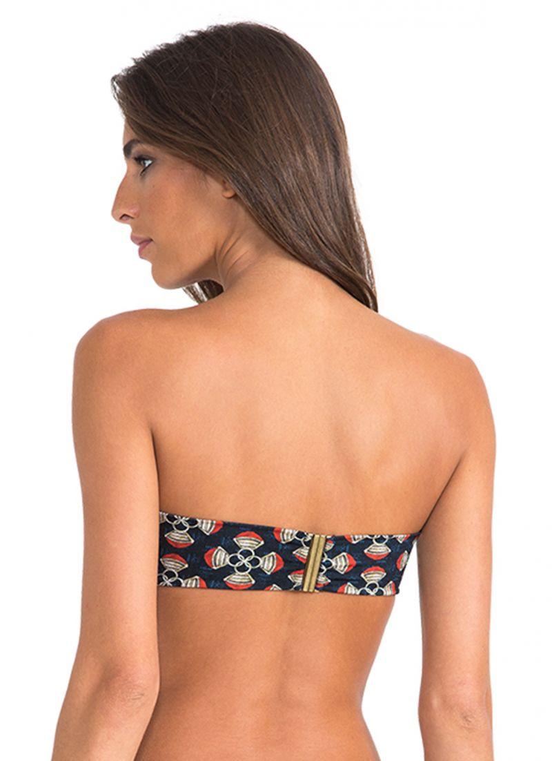 Luxury printed bandeau bikini top with gold-coloured clasp - SOUTIEN BANDEAU PAREO TOUAREG