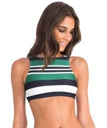 Luxury swimsuit crop top with tricolour stripes - SOUTIEN BASIC ATHLETIC STRIPES