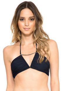Marineblaues Bandeau-Top mit Metallelement - SOUTIEN METAL RUCHED