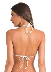 Cream-coloured halter top low-cut fringed - SOUTIEN STRING HALTER OFF WHITE