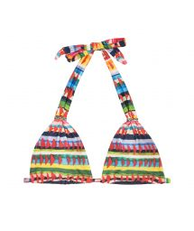 Halterneck triangle bikini top in a multicoloured ethnic print - SOUTIEN VOLPI