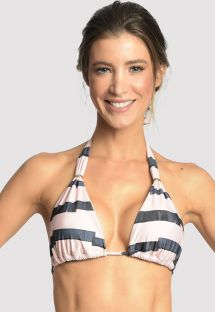 Bi-color bikini top with golden ring details - TOP ADJUSTABLE MARINA