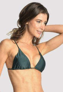 Dark green accessorized Brazilian bikini top - TOP LONG HALTER STRING ATLANTIC