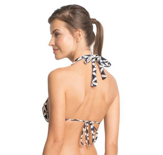 Çift renkli desenli lüks eşarp üçgen bikini üstü - TOP LUA