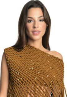 Copper bandeau top with a cover up - TOP VEST GOLDEN GRASS