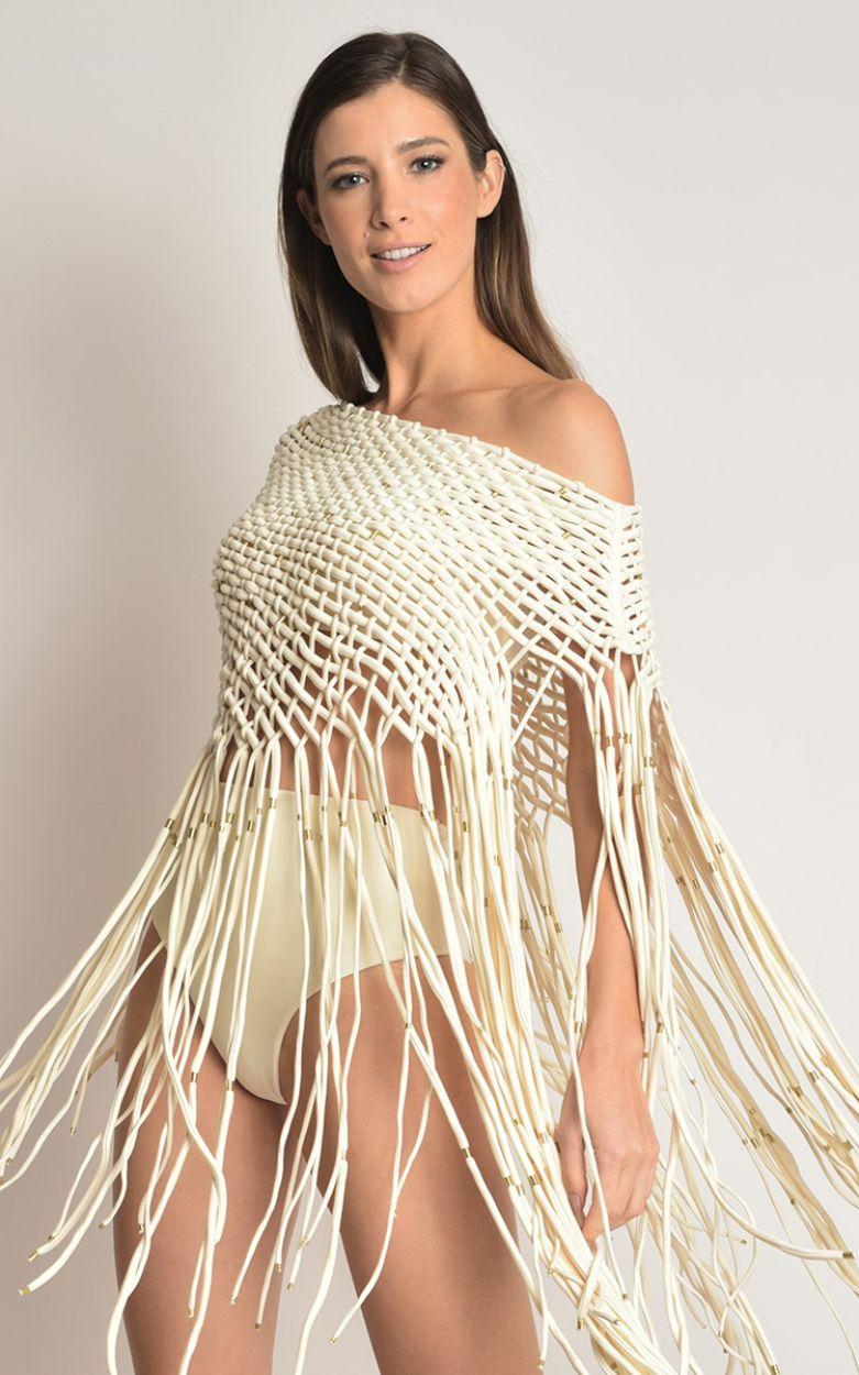 Cream bandeau övredel och strandtunika - catwalk modell - TOP VEST OFF WHITE