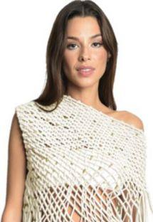 Kremfarget bandeau-bikinitopp og en tildekning - modellstil - TOP VEST OFF WHITE