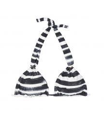 Black and white striped halter-neck triangle bikini top - SOUTIEN BLACK STRIPES