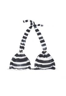 Mustavalkoinen, raidoitettu, niskalenkkillä varustettu kolmiokuppi-bikini yläosa - SOUTIEN BLACK STRIPES
