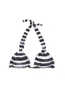 Zwart met wit gestreept driehoekig bikinitopje met halternek - SOUTIEN BLACK STRIPES