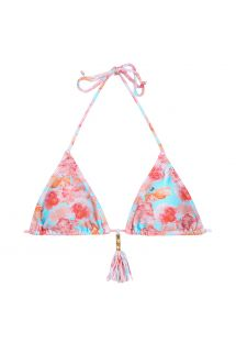 Floral triangle bikini top with tassel - SOUTIEN TURQUOISE MARGHERITA