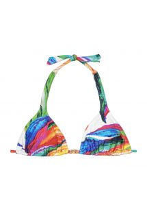 Multicoloured scarf triangle top - SOUTIEN ACQUERELLO