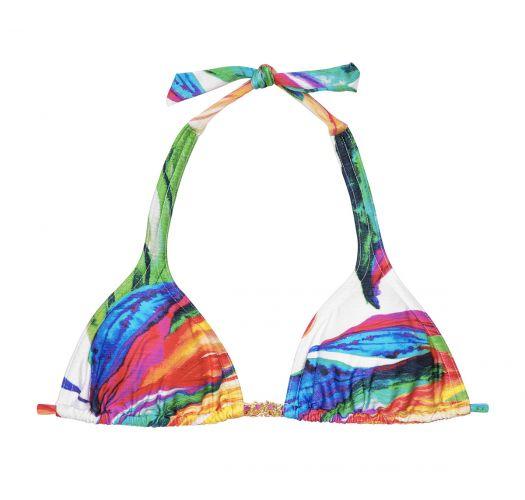 Multicoloured scarf triangle top - SOUTIEN ACQUERELLO