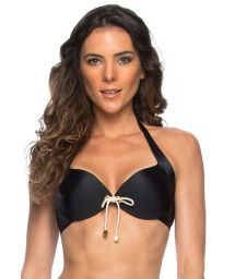 Black push-up top with tied cord detail - SOUTIEN BETINA