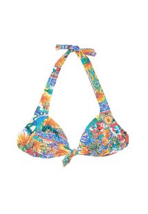 A colourful triangle bikini top with a bow - SOUTIEN CERAMICHE COLORATO
