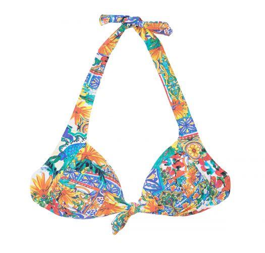 A colourful triangle bikini top with a bow - SOUTIEN CERAMICHE COLORATO