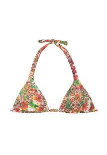 Mønstret trekant bikini-top med tørklædeeffekt  - SOUTIEN CERAMICHE ROSSO