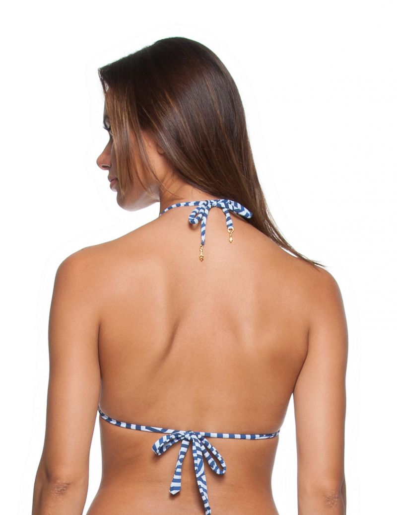 Padded triangle bikini top in a blue geometric print - SOUTIEN CORACAO GUARDA