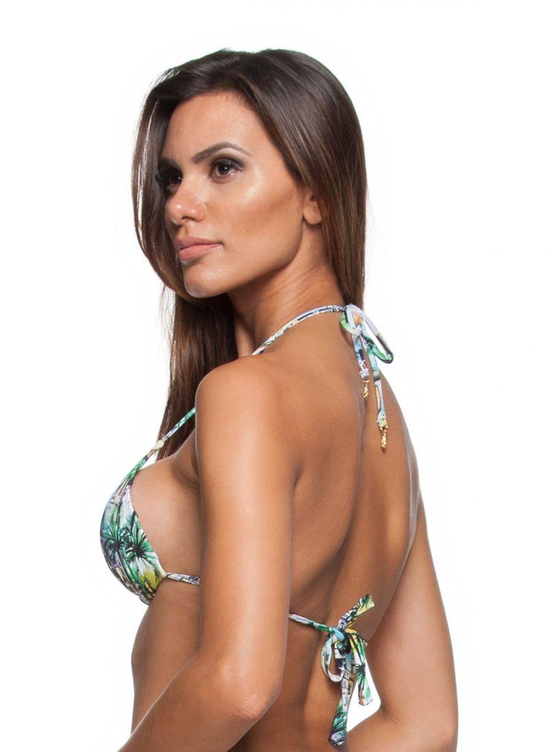 Padded multicoloured print triangle bikini top - SOUTIEN CORACAO LETOH