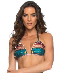 Printed triangle bikini top with cord and eyelets - SOUTIEN CORDA TAPECARIA