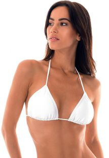 Sürgülü beyaz saten üçgen bikini üstü - SOUTIEN EILEEN