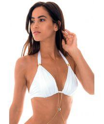 White satin finish triangle halter bikini top with jewel accent - SOUTIEN ELBA