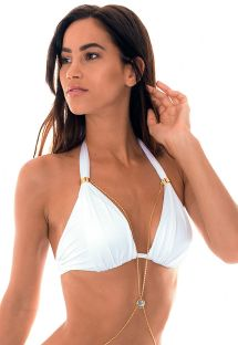 White satin finish triangle halter bikini top with jewel accent - SOUTIEN ELBA