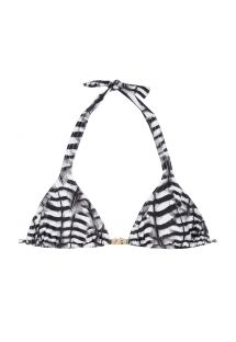 Siyah beyaz, boyun bağlı, üçgen bikini üstü - SOUTIEN FALCO