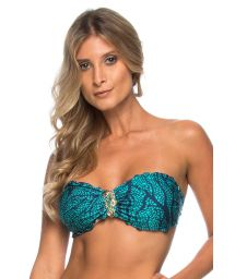 Accessorised blue bandeau top with wavy edges - SOUTIEN INDIRA AZUL