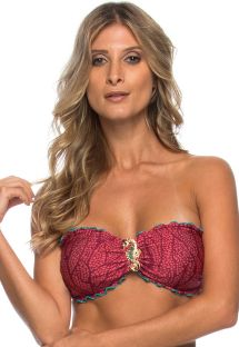 Pink bandeau top with seahorse jewel decoration - SOUTIEN INDIRA CORAL