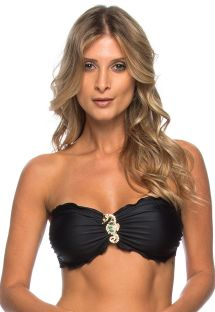 Black bandeau top with gold-coloured seahorse detail - SOUTIEN INDIRA PRETO