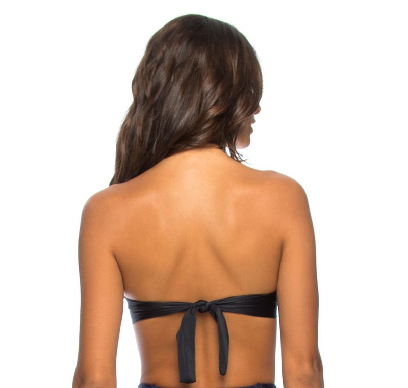 Midnight blue underwired bandeau top with cups - SOUTIEN LEONICE