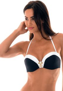 Textured black/white padded bandeau top - SOUTIEN MADELYN