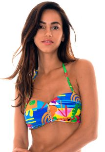 Zipped bandeau top in colourful naïve print - SOUTIEN MATISSE IGUAL