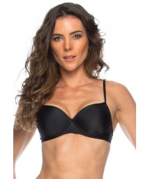 Black balconette bikini top with adjustable straps - SOUTIEN MICAELA