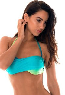 Twisted bandeau top in staggered shades of blue - SOUTIEN MIMOSA GRINGA