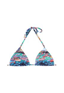 Sliding triangle swimsuit top blue print - SOUTIEN MINI BARCA