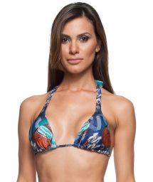 Blue printed halterneck triangle bikini top - SOUTIEN MINI RIVA