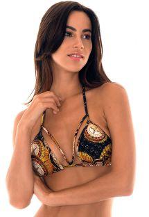 Kasino desenli strappy üçgen bikini üstü - SOUTIEN MONTECARLO DECOTE